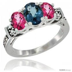 14K White Gold Natural London Blue Topaz & Pink Topaz Ring 3-Stone Oval with Diamond Accent