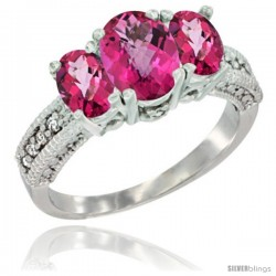 14k White Gold Ladies Oval Natural Pink Topaz 3-Stone Ring Diamond Accent