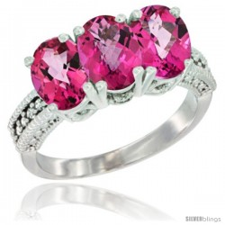 14K White Gold Natural Pink Topaz Ring 3-Stone 7x5 mm Oval Diamond Accent