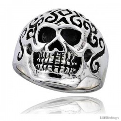 Sterling Silver Tattooed Skull Ring 7/8 in wide