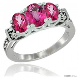 14K White Gold Natural Pink Topaz Ring 3-Stone Oval with Diamond Accent
