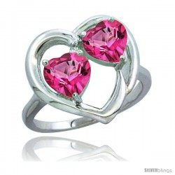 14k White Gold 2-Stone Heart Ring 6 mm Natural Pink Topaz Stones Diamond Accent