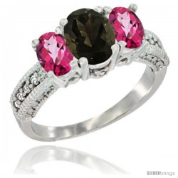 14k White Gold Ladies Oval Natural Smoky Topaz 3-Stone Ring with Pink Topaz Sides Diamond Accent