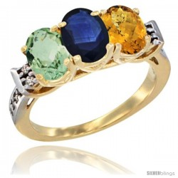 10K Yellow Gold Natural Green Amethyst, Blue Sapphire & Whisky Quartz Ring 3-Stone Oval 7x5 mm Diamond Accent