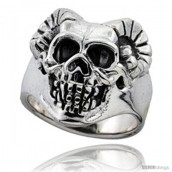 Sterling Silver Skull Ring w/ Horns 1 in wide