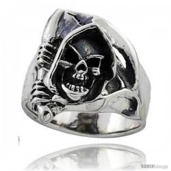 Sterling Silver Grim Reaper Head Skull Ring 1 in wide