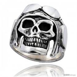 Sterling Silver Skull with Motorcycle Helmet 1 in wide