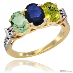 10K Yellow Gold Natural Green Amethyst, Blue Sapphire & Lemon Quartz Ring 3-Stone Oval 7x5 mm Diamond Accent