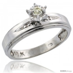 10k White Gold Diamond Engagement Ring, 3/16 in wide -Style Ljw113er