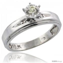 10k White Gold Diamond Engagement Ring, 3/16 in wide -Style Ljw113er