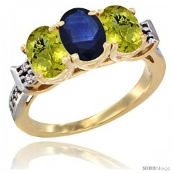 10K Yellow Gold Natural Blue Sapphire & Lemon Quartz Sides Ring 3-Stone Oval 7x5 mm Diamond Accent