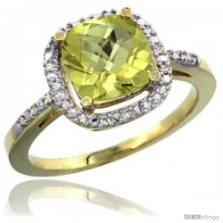 10k Yellow Gold Ladies Natural Lemon Quartz Ring Cushion-cut 3.8 ct. 8x8 Stone