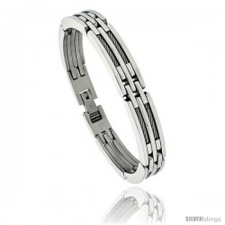 Gent's Stainless Steel Cable & Bar Bracelet, 3/8 in wide, 8 1/2 in long