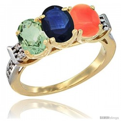 10K Yellow Gold Natural Green Amethyst, Blue Sapphire & Coral Ring 3-Stone Oval 7x5 mm Diamond Accent