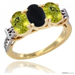 10K Yellow Gold Natural Black Onyx & Lemon Quartz Sides Ring 3-Stone Oval 7x5 mm Diamond Accent