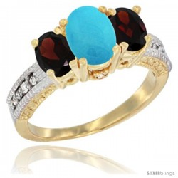 14k Yellow Gold Ladies Oval Natural Turquoise 3-Stone Ring with Garnet Sides Diamond Accent