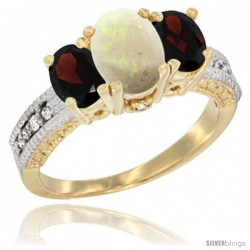 14k Yellow Gold Ladies Oval Natural Opal 3-Stone Ring with Garnet Sides Diamond Accent