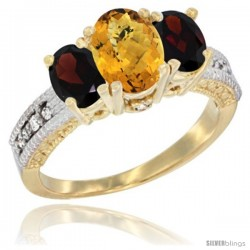 14k Yellow Gold Ladies Oval Natural Whisky Quartz 3-Stone Ring with Garnet Sides Diamond Accent