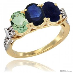 10K Yellow Gold Natural Green Amethyst, Blue Sapphire & Lapis Ring 3-Stone Oval 7x5 mm Diamond Accent