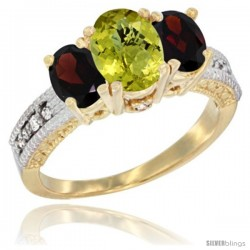 14k Yellow Gold Ladies Oval Natural Lemon Quartz 3-Stone Ring with Garnet Sides Diamond Accent