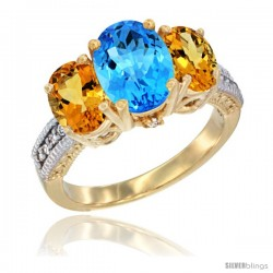 10K Yellow Gold Ladies 3-Stone Oval Natural Swiss Blue Topaz Ring with Citrine Sides Diamond Accent