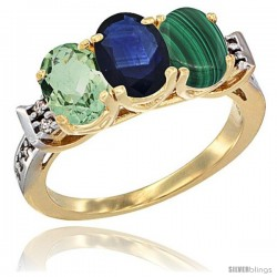 10K Yellow Gold Natural Green Amethyst, Blue Sapphire & Malachite Ring 3-Stone Oval 7x5 mm Diamond Accent