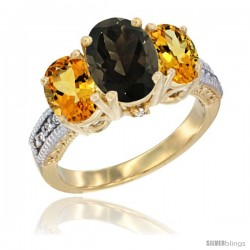 10K Yellow Gold Ladies 3-Stone Oval Natural Smoky Topaz Ring with Citrine Sides Diamond Accent