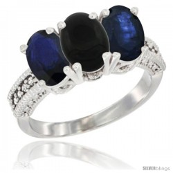 14K White Gold Natural Black Onyx & Blue Sapphire Sides Ring 3-Stone 7x5 mm Oval Diamond Accent