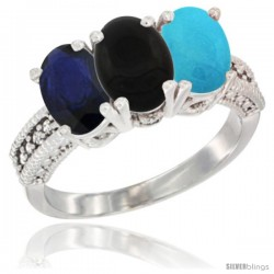 14K White Gold Natural Blue Sapphire, Black Onyx & Turquoise Ring 3-Stone 7x5 mm Oval Diamond Accent