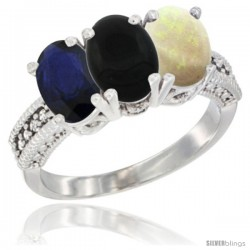 14K White Gold Natural Blue Sapphire, Black Onyx & Opal Ring 3-Stone 7x5 mm Oval Diamond Accent