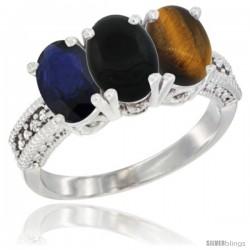 14K White Gold Natural Blue Sapphire, Black Onyx & Tiger Eye Ring 3-Stone 7x5 mm Oval Diamond Accent