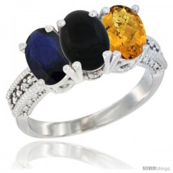 14K White Gold Natural Blue Sapphire, Black Onyx & Whisky Quartz Ring 3-Stone 7x5 mm Oval Diamond Accent