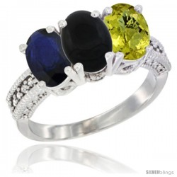 14K White Gold Natural Blue Sapphire, Black Onyx & Lemon Quartz Ring 3-Stone 7x5 mm Oval Diamond Accent