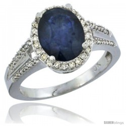 14k White Gold Ladies Natural Blue Sapphire Ring oval 10x8 Stone Diamond Accent