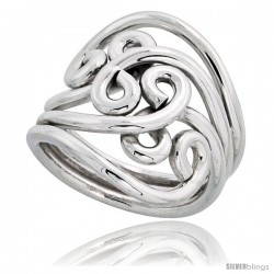 Sterling Silver Hand Made Freeform Wire Wrap Ring, 1 in (24 mm) wide -Style Xrw28