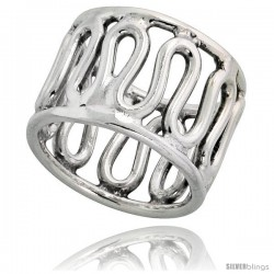 Sterling Silver Hand Made Wire Band, 5/8 in (16 mm) wide