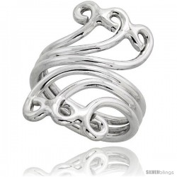 Sterling Silver Hand Made Wire Wrap Ring, 1 1/4 in (30 mm) wide -Style Xrw3