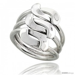 Sterling Silver Hand Made Freeform Wire Wrap Ring, 3/4 in (19 mm) wide