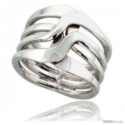 Sterling Silver Hand Made Freeform Wire Wrap Ring, 3/4 in (17 mm) wide