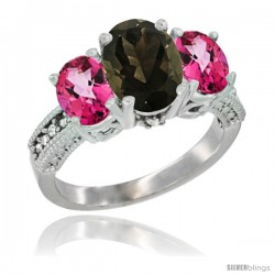 14K White Gold Ladies 3-Stone Oval Natural Smoky Topaz Ring with Pink Topaz Sides Diamond Accent