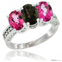 14K White Gold Natural Smoky Topaz & Pink Topaz Sides Ring 3-Stone 7x5 mm Oval Diamond Accent
