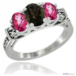 14K White Gold Natural Smoky Topaz & Pink Topaz Ring 3-Stone Oval with Diamond Accent