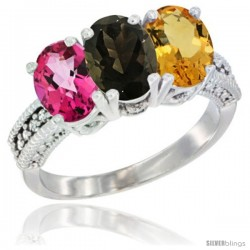 14K White Gold Natural Pink Topaz, Smoky Topaz & Citrine Ring 3-Stone 7x5 mm Oval Diamond Accent