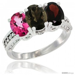 14K White Gold Natural Pink Topaz, Smoky Topaz & Garnet Ring 3-Stone 7x5 mm Oval Diamond Accent
