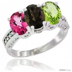 14K White Gold Natural Pink Topaz, Smoky Topaz & Peridot Ring 3-Stone 7x5 mm Oval Diamond Accent