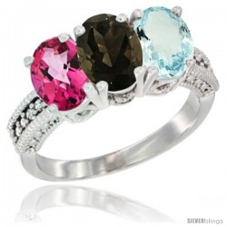 14K White Gold Natural Pink Topaz, Smoky Topaz & Aquamarine Ring 3-Stone 7x5 mm Oval Diamond Accent