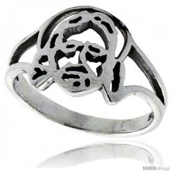 Sterling Silver Jesus Ring 1/2 in wide