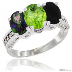 10K White Gold Natural Mystic Topaz, Peridot & Black Onyx Ring 3-Stone Oval 7x5 mm Diamond Accent
