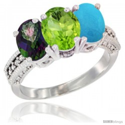 10K White Gold Natural Mystic Topaz, Peridot & Turquoise Ring 3-Stone Oval 7x5 mm Diamond Accent