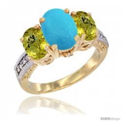 10K Yellow Gold Ladies 3-Stone Oval Natural Turquoise Ring with Lemon Quartz Sides Diamond Accent